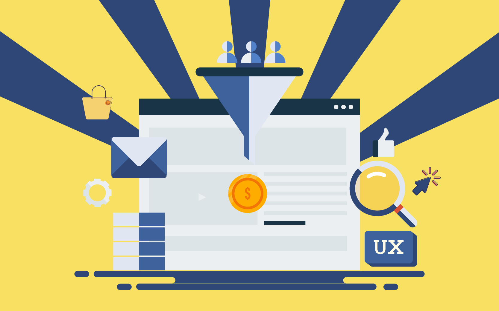 a conversion funnel with UX elements